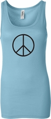 Ladies Peace Tanktop Basic Peace Black Longer Length Tank Top