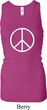 Ladies Peace Tanktop Basic Peace White Longer Length Racerback Tank