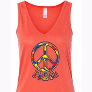 Ladies Peace Tanktop Funky Peace Flowy V-neck Tank Top