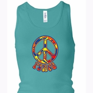 Ladies Peace Tanktop Funky Peace Longer Length Racerback Tank Top