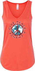 Ladies Peace Tanktop Give Peace a Chance Flowy V-neck Tank Top