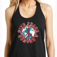 Ladies Peace Tanktop Give Peace a Chance Shimmer Loop Back Tank Top