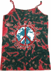 Ladies Peace Tanktop Give Peace a Chance Tie Dye Camisole Tank Top