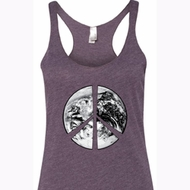 Ladies Peace Tanktop Peace Earth Tri Blend Racerback Tank Top