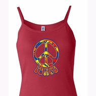 Ladies Peace Tanktop Funky Peace Spaghetti Strap Tank Top