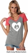 Ladies Peace Tee Hippie Heart Peace Contrast V-neck