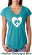Ladies Peace Tee Hippie Heart Peace Tri Blend V-neck