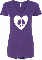 Ladies Peace Tee Hippie Heart Peace V-Neck Shirt