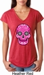 Ladies Pink Sugar Skull Tri Blend V-neck