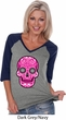 Ladies Pink Sugar Skull V-neck Raglan
