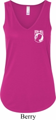 Ladies Pow Mia Pocket Print Flowy V-neck Tank Top