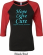 Ladies Prostate Cancer Hope Love Cure Raglan Shirt