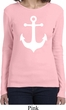 Ladies Sailing Shirt White Anchor Long Sleeve Tee