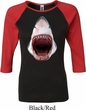 Ladies Shark Shirt 3D Shark Raglan Tee T-Shirt