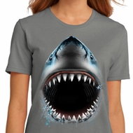 Ladies Shark Shirt Big Shark Face Organic T-Shirt