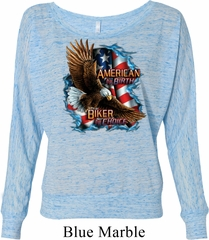 Ladies Shirt American By Birth Off Shoulder Tee T-Shirt