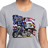 Ladies Shirt American Pride Motorcycle Moisture Wicking Tee T-Shirt