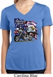 Ladies Shirt American Pride Motorcycle Moisture Wicking V-neck Tee