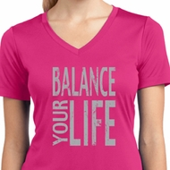 Ladies Shirt Balance Your Life Moisture Wicking V-neck Tee T-Shirt