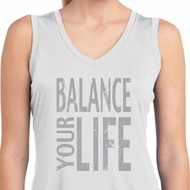 Ladies Shirt Balance Your Life Sleeveless Moisture Wicking Tee T-Shirt