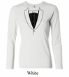 Ladies Shirt Basic Black Tuxedo Long Sleeve Tee T-Shirt