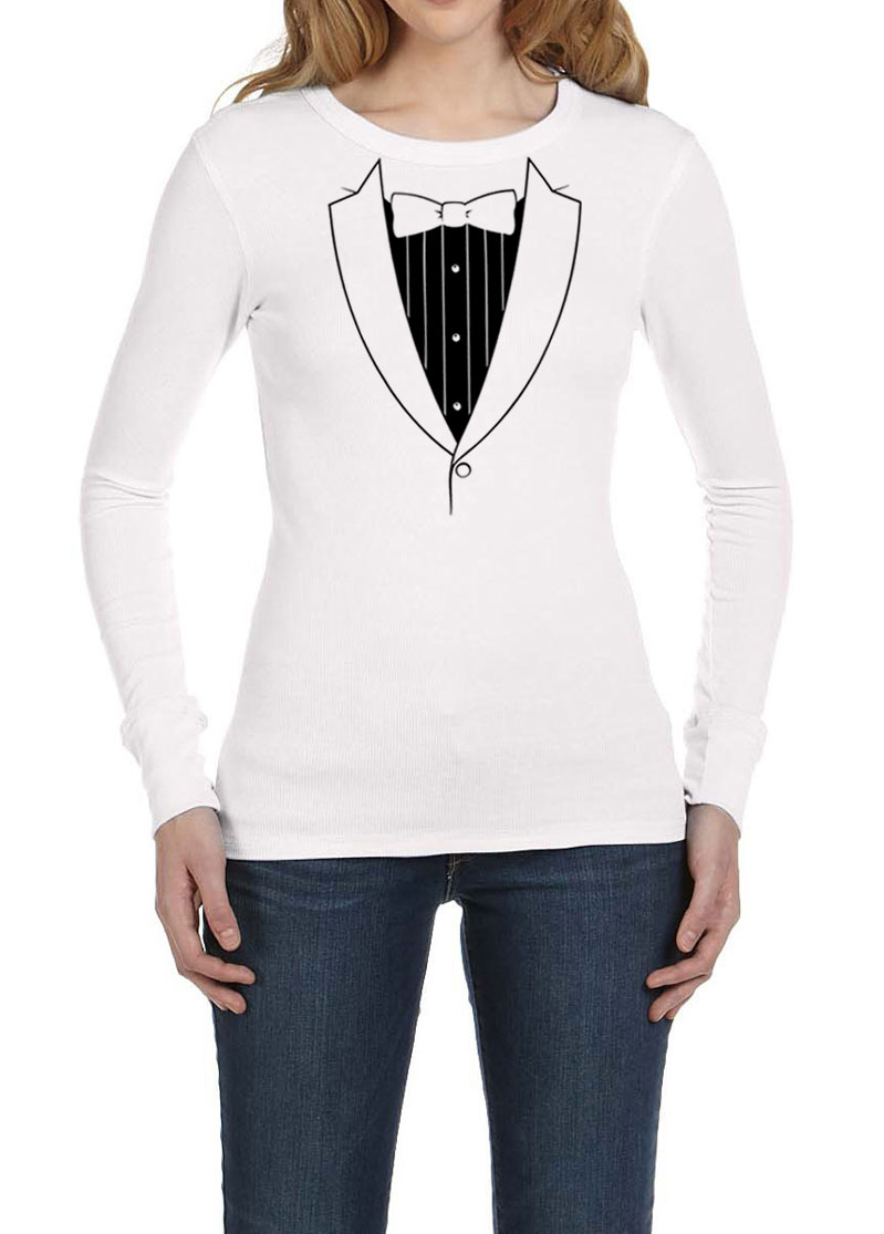 Ladies shirt basic black tuxedo long sleeve thermal tee t for Long t shirts for ladies online