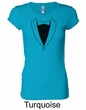 Ladies Shirt Basic Black Tuxedo Longer Length Tee T-Shirt