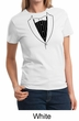 Ladies Shirt Basic Black Tuxedo Tee T-Shirt