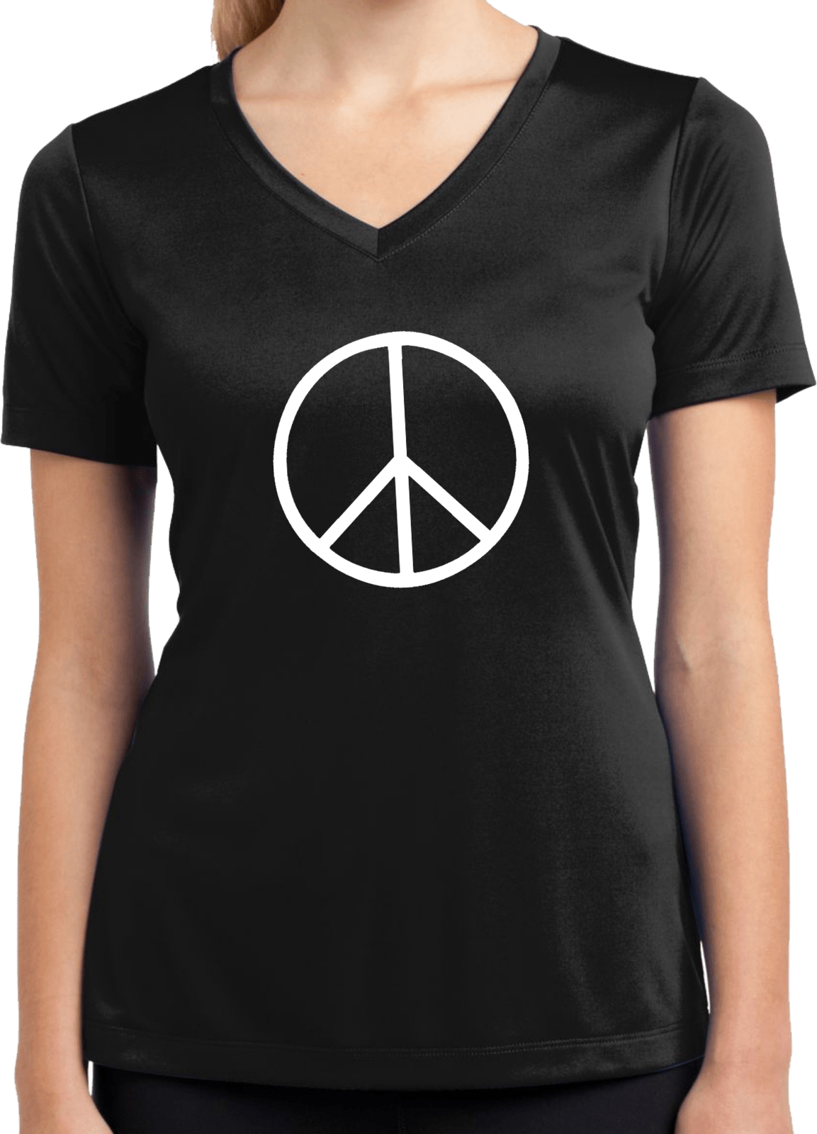 Ladies shirt basic peace white sleeveless moisture wicking for Sweat wicking t shirts