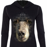 Ladies Shirt Big Black Bear Face Tri Blend Hoodie Tee T-Shirt