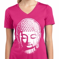 Ladies Shirt Big Buddha Head Moisture Wicking V-neck Tee