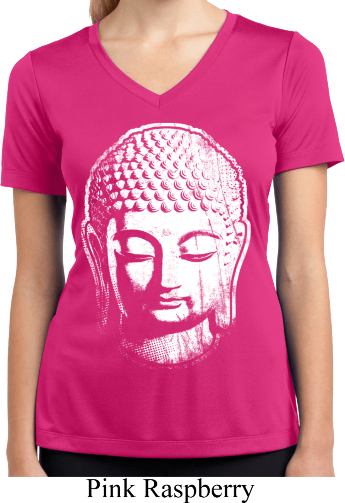 Ladies shirt big buddha head moisture wicking v neck tee for Large v neck t shirts