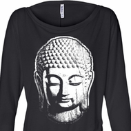 Ladies Shirt Big Buddha Head Off Shoulder Tee T-Shirt