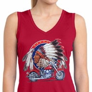 Ladies Shirt Big Chief Indian Sleeveless Moisture Wicking Tee T-Shirt