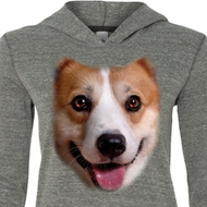 Ladies Shirt Big Corgi Face Grey Tri Blend Hoodie Tee T-Shirt