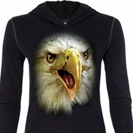 Ladies Shirt Big Eagle Face Tri Blend Hoodie Tee T-Shirt