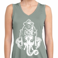 Ladies Shirt BIG Ganesha Head Sleeveless Moisture Wicking Tee T-Shirt