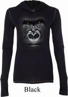 Ladies Shirt Big Gorilla Face Tri Blend Hoodie Tee T-Shirt