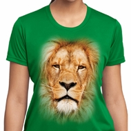 Ladies Shirt Big Lion Face Moisture Wicking Tee T-Shirt