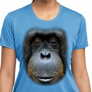 Ladies Shirt Big Orangutan Face Moisture Wicking Tee T-Shirt