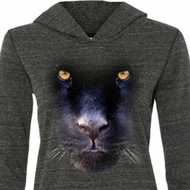 Ladies Shirt Big Panther Face Tri Blend Hoodie Tee T-Shirt