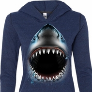 Ladies Shirt Big Shark Face Tri Blend Hoodie Tee T-Shirt