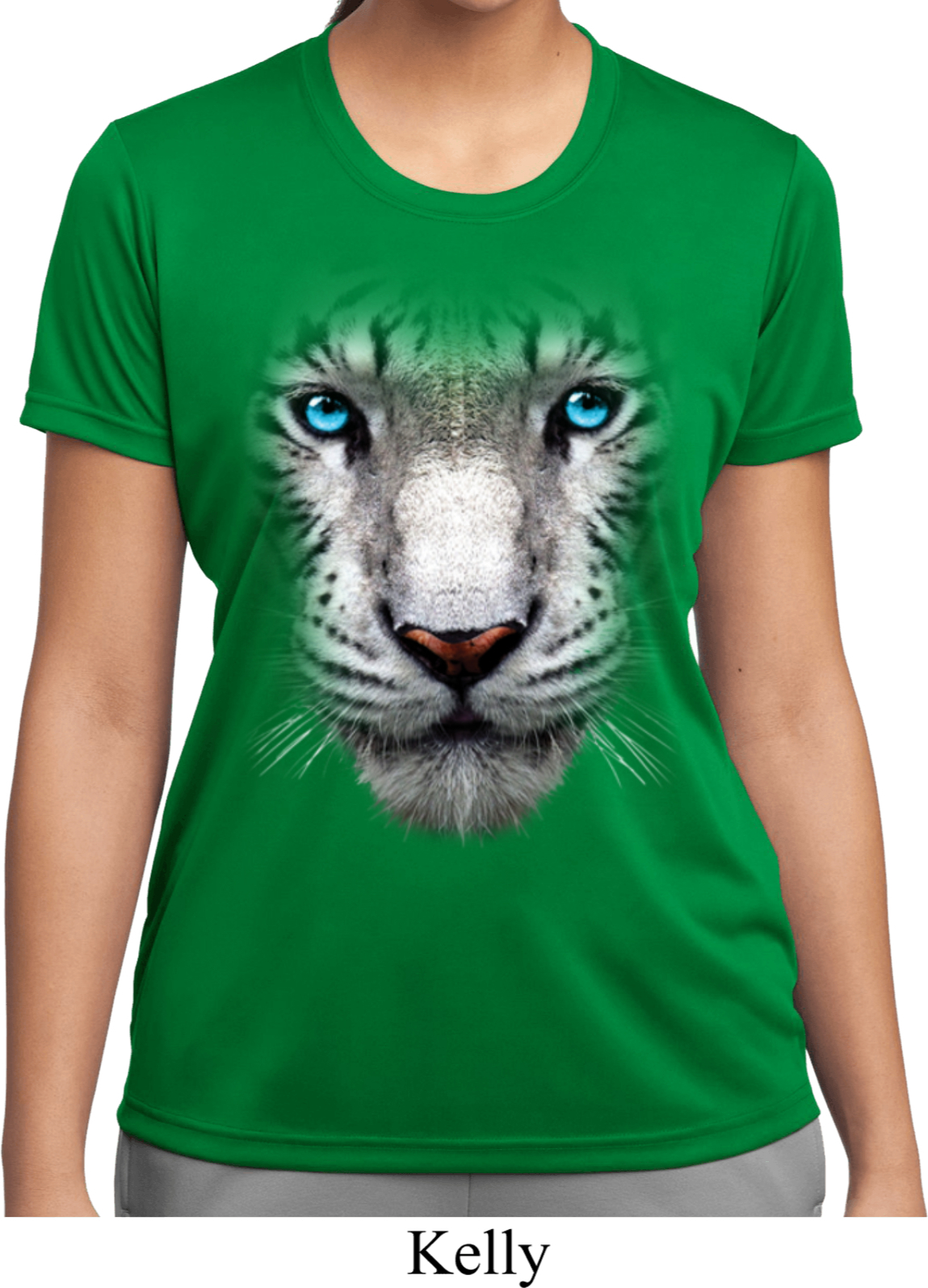 Ladies shirt big white tiger face moisture wicking tee t for Sweat wicking t shirts