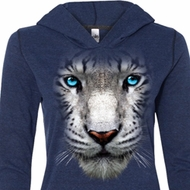 Ladies Shirt Big White Tiger Face Tri Blend Hoodie Tee T-Shirt