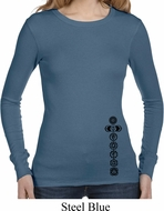 Ladies Shirt Black 7 Chakras Bottom Print Long Sleeve Thermal Tee