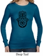 Ladies Shirt Black Hamsa Long Sleeve Thermal Tee