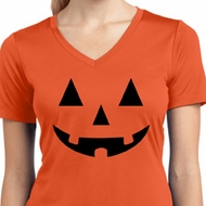 Ladies Shirt Black Jack O Lantern Moisture Wicking V-neck Tee T-Shirt