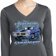 Ladies Shirt Blue Dodge Charger Dry Wicking Long Sleeve Tee T-Shirt