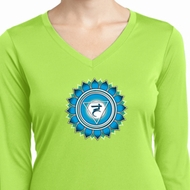 Ladies Shirt Blue Vishuddha Dry Wicking Long Sleeve Tee