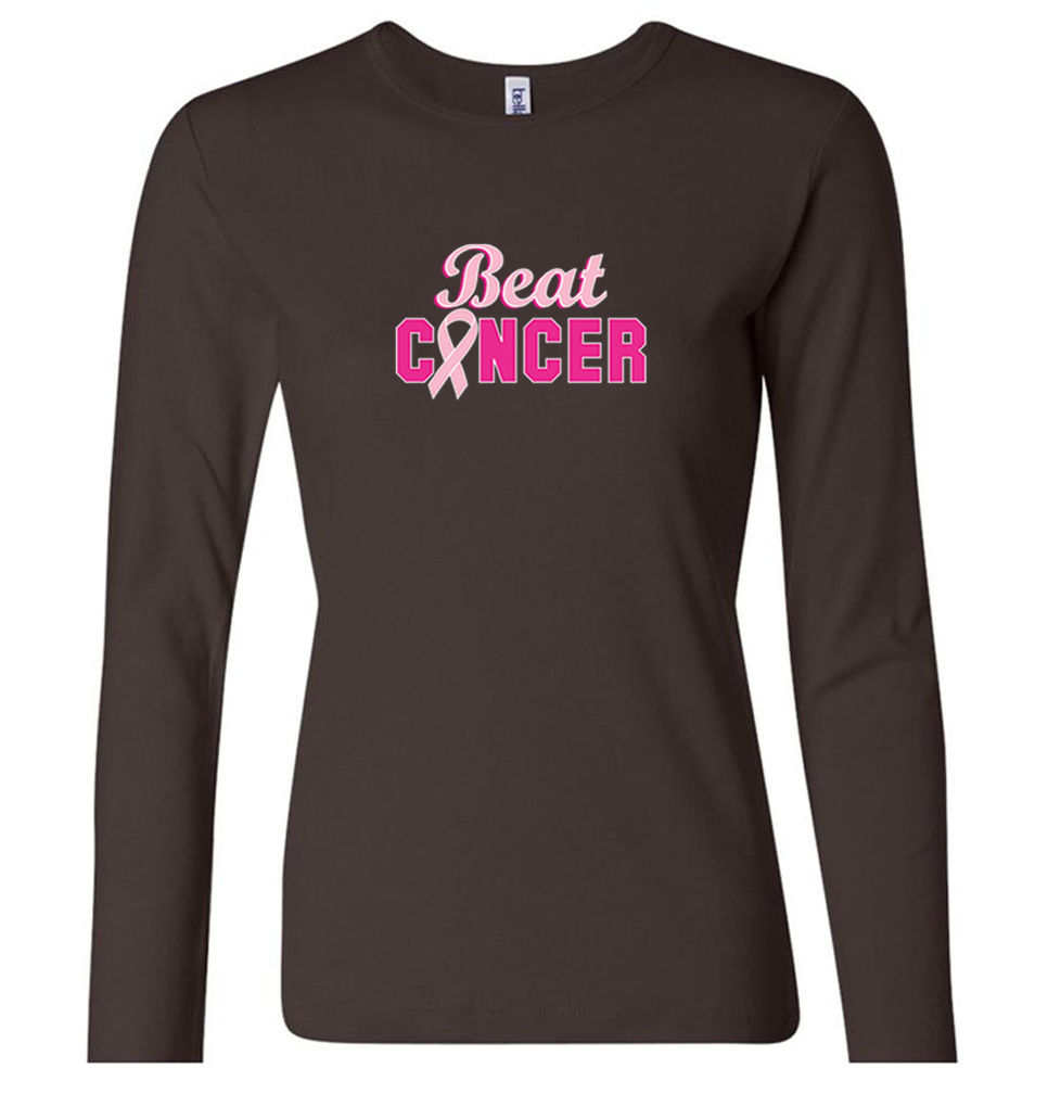 Ladies shirt breast cancer awareness beat cancer long for Misses long sleeve tee shirts